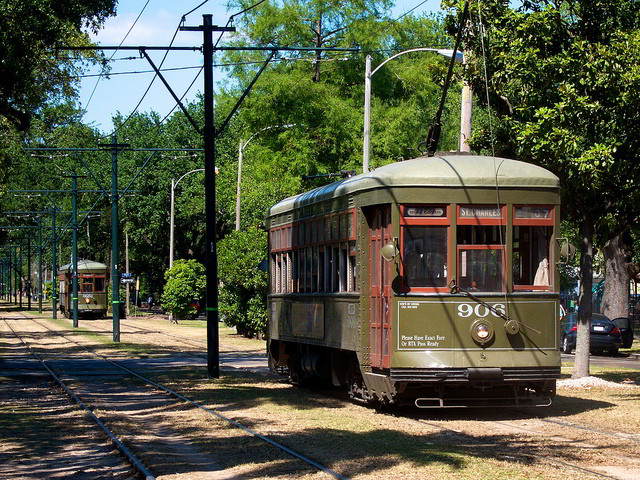 One of the most historic means of transporation in New Orleans, be sure to take a ride on a St. Charles streetcar while you're here. (Photo courtesy Flickr user BriYYZ.)