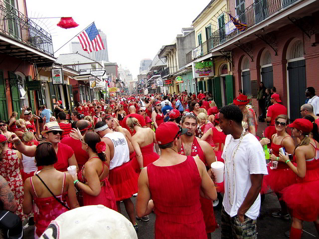 Downtown New Orleans filled with Red Dress Run participants.