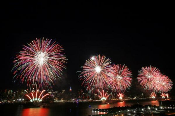 July 4th Fireworks over the Mississippi River in New Orleans.