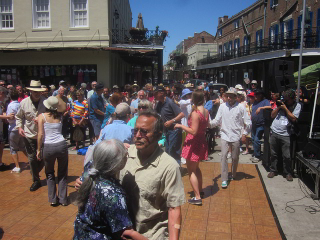French Quarter Festival and NOLA Jitterbugs present free dance lessons at The French Market Traditional Jazz Stage. (Photo courtesy Flickr user Infrogmation)