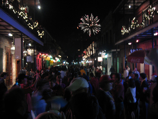New Year's Eve fireworks from the streets of the French Quarter.