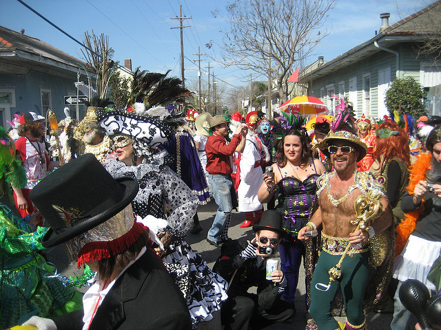 Members of the Society of St. Anne wear elaborate costumes to parade on Mardi Gras morning in the Bywater neighborhood of New Orleans.(Photo courtesy Flickr user Infrogmation)