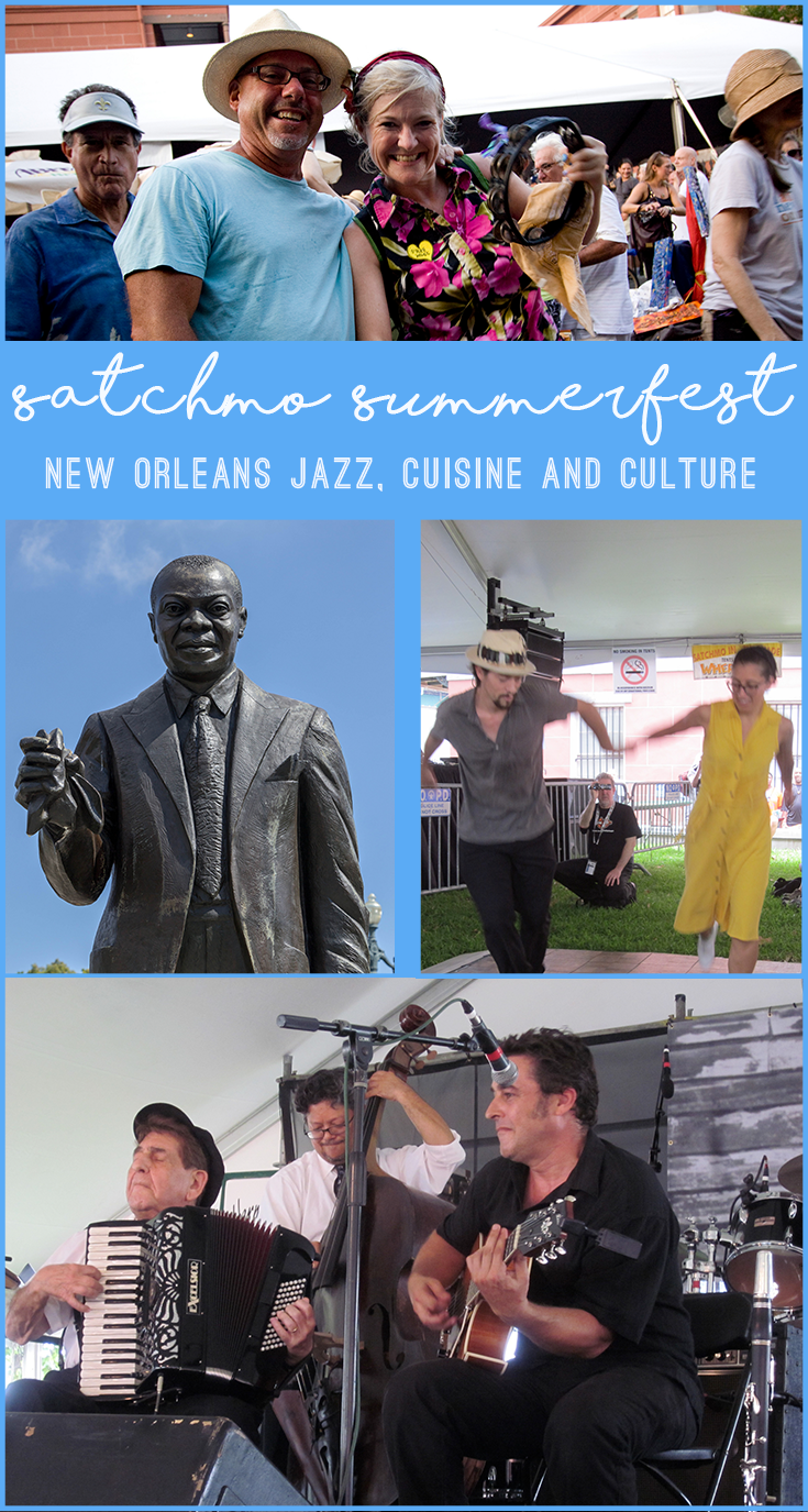 Here in New Orleans, we celebrate Louis Armstrong with his very own festival. Satchmo SummerFest happens each August.