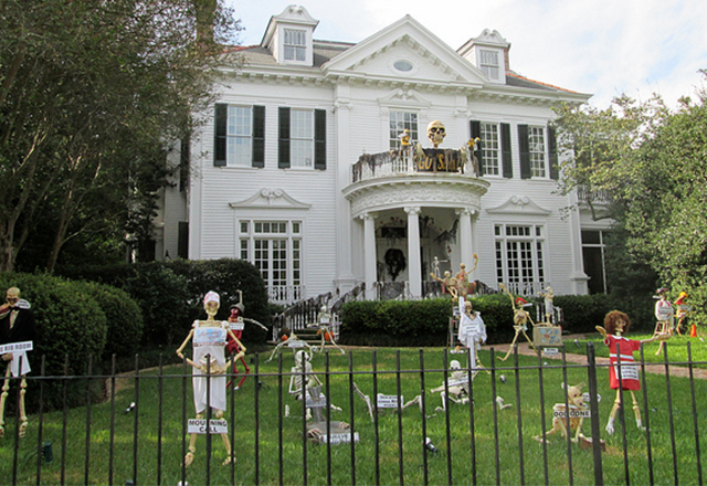 Halloween Decorations Outside Uptown Home.