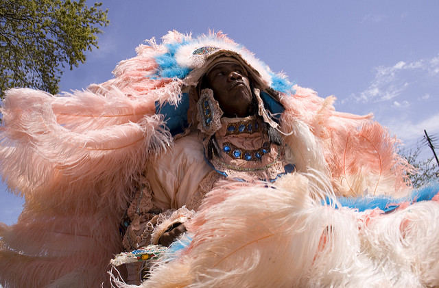 On Super Sunday, Mardi Gras Indians gather to show off their elaborate hand-crafted suits of beads and feathers. (Photo courtesy Flickr user Derek Bridges)