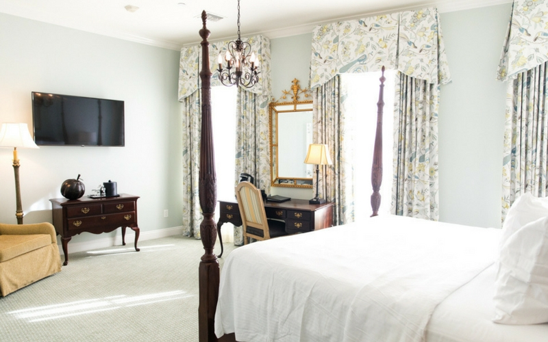 Renovated Bienville House Hotel guest rooms feature floor-to-ceiling windows.