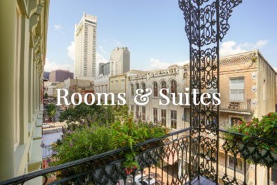 Enjoy the view from your French Quarter balcony when you stay at Bienville House